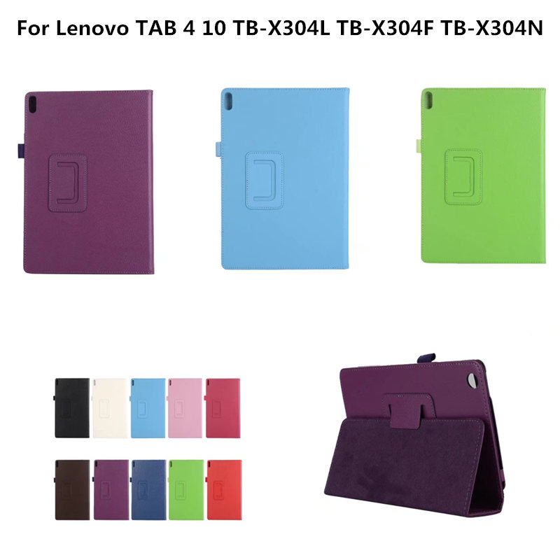PU Leather Case For Lenovo TAB 4 10 TB-X304L TB-X304F TB-X304N 10.1 inch Folding Stand Tablet Case For TAB4 10 Protective cover ultra thin smart flip pu leather cover for lenovo tab 2 a10 30 70f x30f x30m 10 1 tablet case screen protector stylus pen