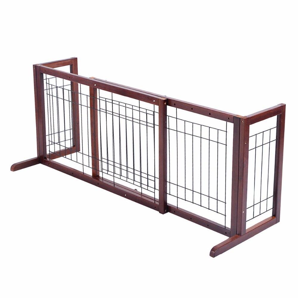 Porte de chien en bois réglable intérieur solide Construction Pet clôture parc Stand gratuit PS6090