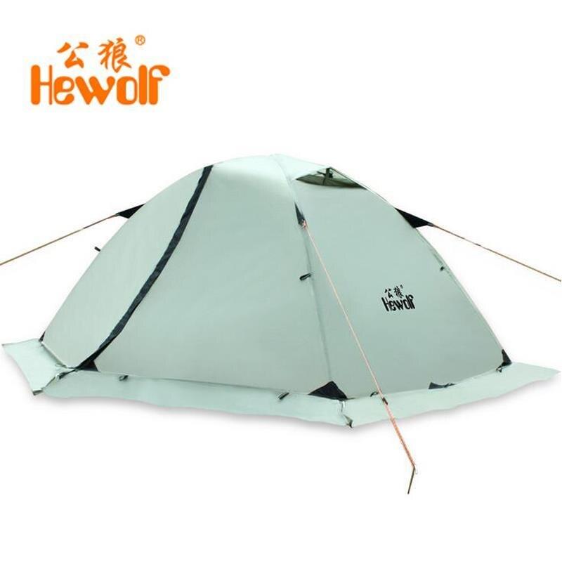 Hewolf professionnel 2 personnes utiliser Double couche imperméable Super forte tentes d'hiver Camping tente Namiot