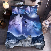 LOVINSUNSHINE Queen Size Bedding Set Bed Comforter King Size Moon Wolf Printing Duvet Cover AB#166