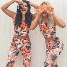 SALSPOR Floral Printed Yoga Set Women High Waist Sport Leggings Fitness Tops Gym Two-piece Female Jogging Sportswear