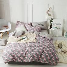 2018 Cute Pink Flamingos Birds Bedding Set 4Pcs Queen Size Cotton Bedlinens Duvet Cover Set Flat Sheet Pillow Cases