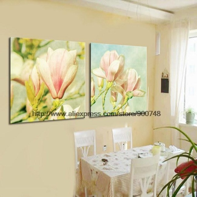 Magnolia Flowers On Quality CanvasHandpainted Oil Painting Black ...