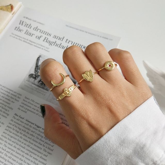 2018 new 925 sterling silver openwork rings letter baby moon-star-shield simple
