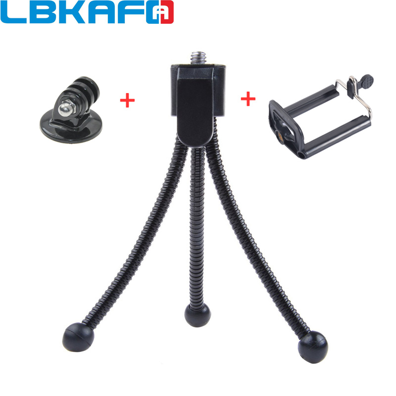 LBKAFA 3 In 1 Mini <font><b>Metal</b></font> Flexible Tripod Holder Stand + Mount <font><b>Adapter</b></font> + Phone Clip for <font><b>GoPro</b></font> Hero 6 5 4 3+ for SJCAM Mijia YI image