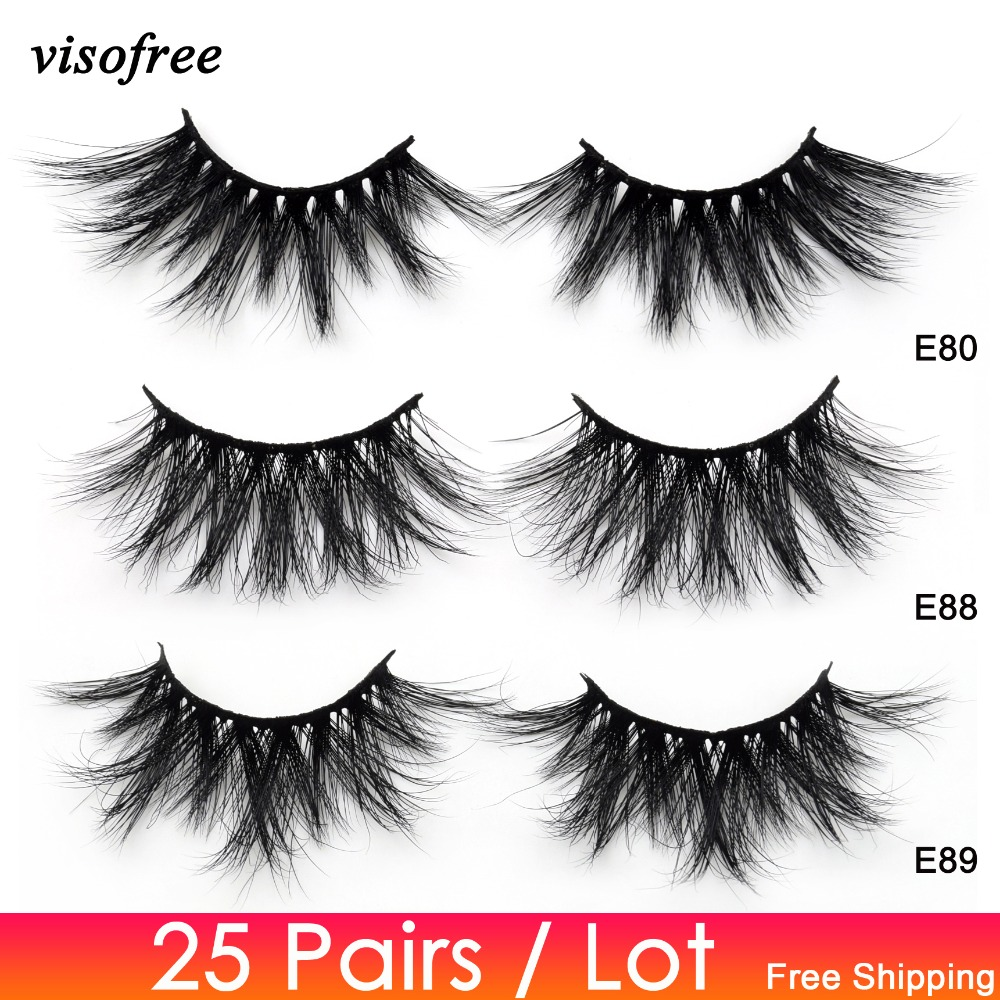 Visofree 25 Pairs/lot Eyelashes 25mm Lashes Crisscross Cruelty Free Full Volume 3D Mink Lashes Soft Dramatic False Eyelash Rzesy