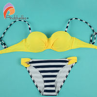 Andzhelika 2017 New Gril S Bikinis Set Swimsuit Summer Push Up Solid Top Striped Bottom Bathing