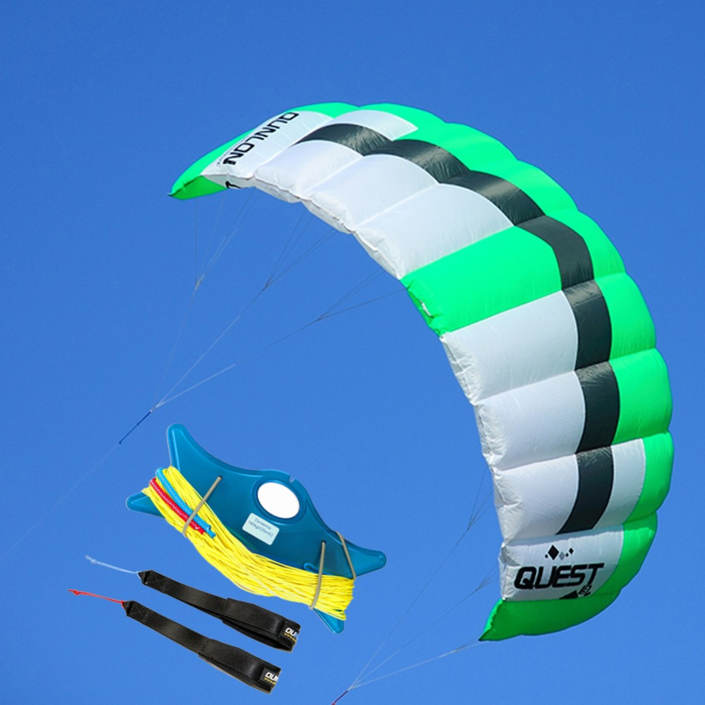 Green 3Sqm Outdoor Sport Stunt Kite Dual Line Parafoil Power Kite For Kitesurfing Trainer With Kite Line String Wrist Wrap 16 colors x vented outdoor playing quad line stunt kite 4 lines beach flying sport kite with 25m line 2pcs handles
