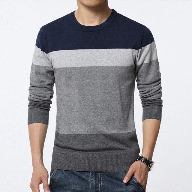 2019 Nova Moda Outono Marca Camisola Homens Casuais O Pescoço Listrado Slim Fit Knitting Camisolas dos homens Pullovers Algodão Masculino 4XL 5XL