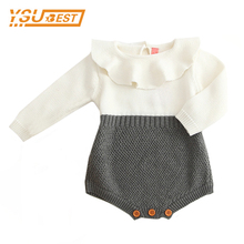 Baby Boys Infant Rompers Baby Girls Long Sleeve Jumpsuits Ruffles Princess Girl Sweet Knitted Overalls Infant Romper 70-100cm