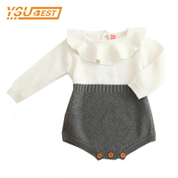 Baby Boys Infant Rompers Baby Girls Long Sleeve Jumpsuits Ruffles Princess Girl Sweet Knitted Overalls Infant