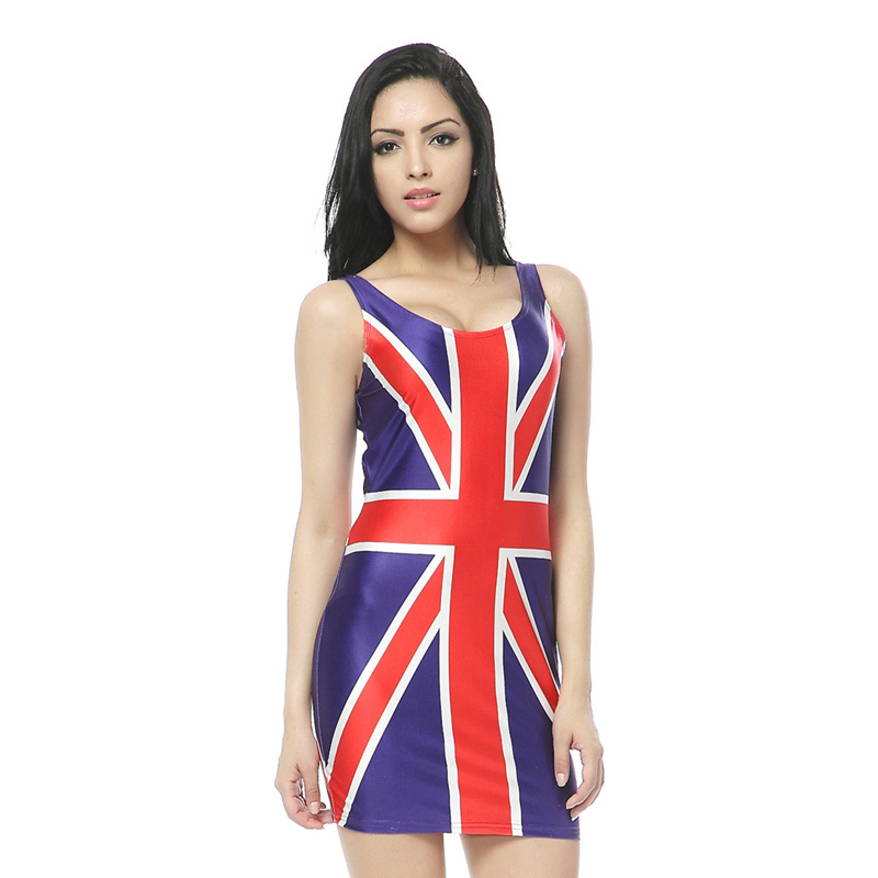 MWBAY New Arrival Natural Union Jack Flag Print Mini Dresses Bodycon Women Summer Sexy Clothing Suit for Party Club
