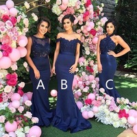 Fashion New Navy Blue Bridesmaid Dresses Mermaid v neck Sleeveless vestido longo
