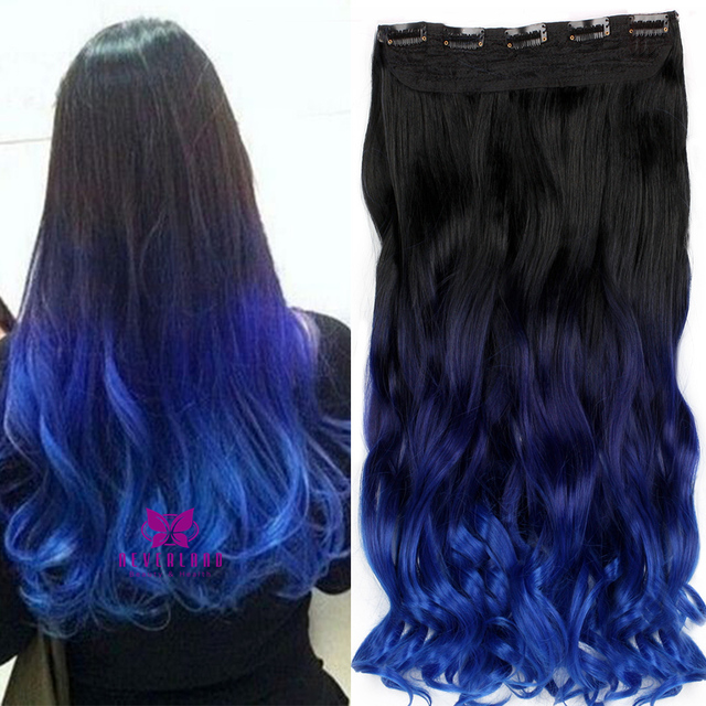 22 Inch Curly Synthetic Hair 3 Colors Ombre Blue Hair Extension Wavy