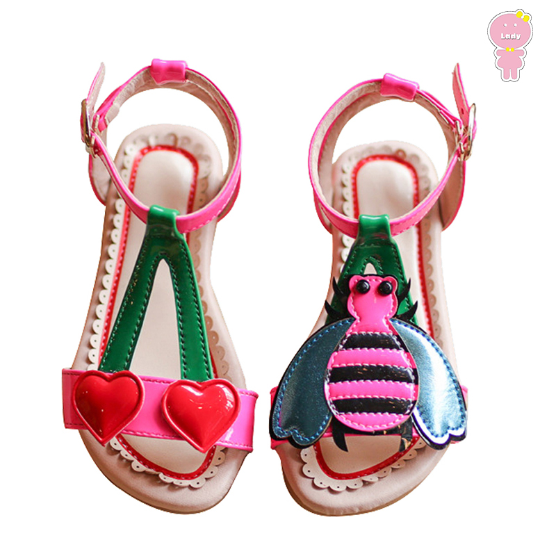 Summer Girls Sandals Baby Beach Shoes Kids Shoes Children Shoes For Toddler Cherry Bee Patch Patent Leather 1 To 8 Yrs