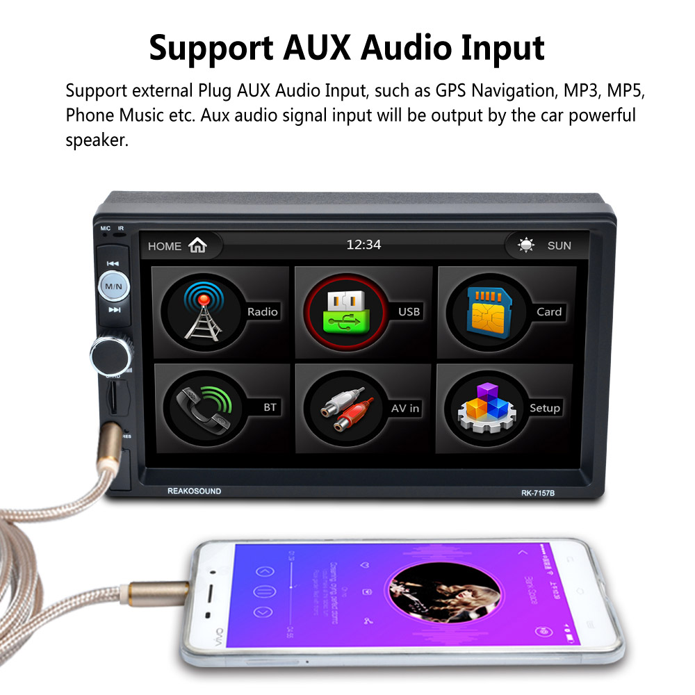 7 Touch Screen MP5 Player BT HD Card Reader Radio 7157B Double DIN Fast Charge Support Video playback with Camera Car Stereo 7 touch screen mp5 player bt hd card reader radio 7157b double din fast charge support video playback with camera car stereo
