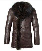 Для мужчин Природный подлинной овец обувь из кожи и меха воротник двубортный пиджак Зимние брендовые зимние Роскошные пальто куртки Беспла