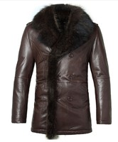 Men Genuine Sheep Leather Fur Collar Double Breasted Jacket Winter Brand Snow Luxury Outdoor Jacket Coat