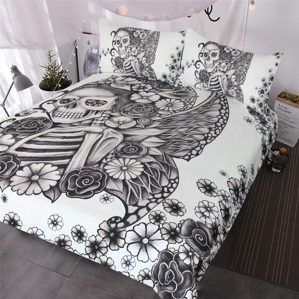 BlessLiving Gothic Skull Bedding Set Retro Butterfly Rose Comforter Cover Black White Skeleton Bedspread Vintage Duvet Cover