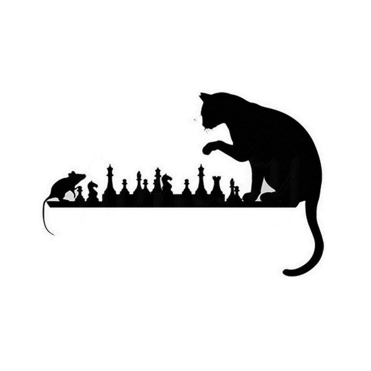 Car Sticker Chess Cat Mouse Art Animals Wall Home Glass