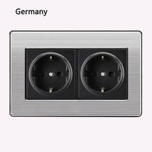 16a Eu Standard Wall Double Socket Luxury Power Outlet Stainless Steel Brushed Silver Panel 146mm*86mm Ac 110~250v цены