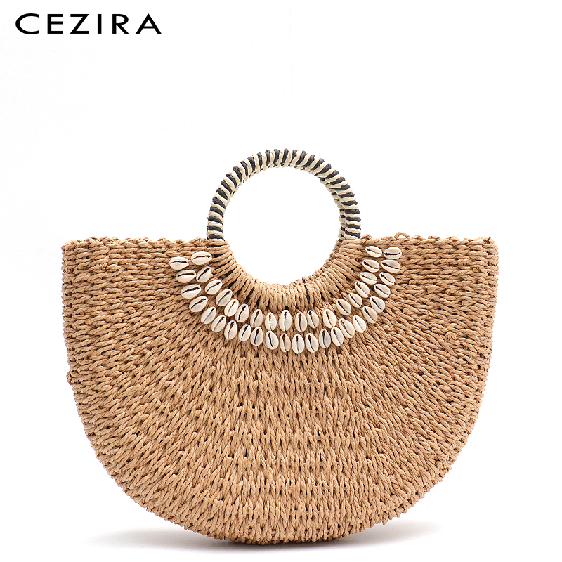CEZIRA 2019 Summer Beach Straw Bags for Women Top-handle Bucket Shoulder Bag Shells Round Handle Tote Bag Woven Knitting Handbag(China)