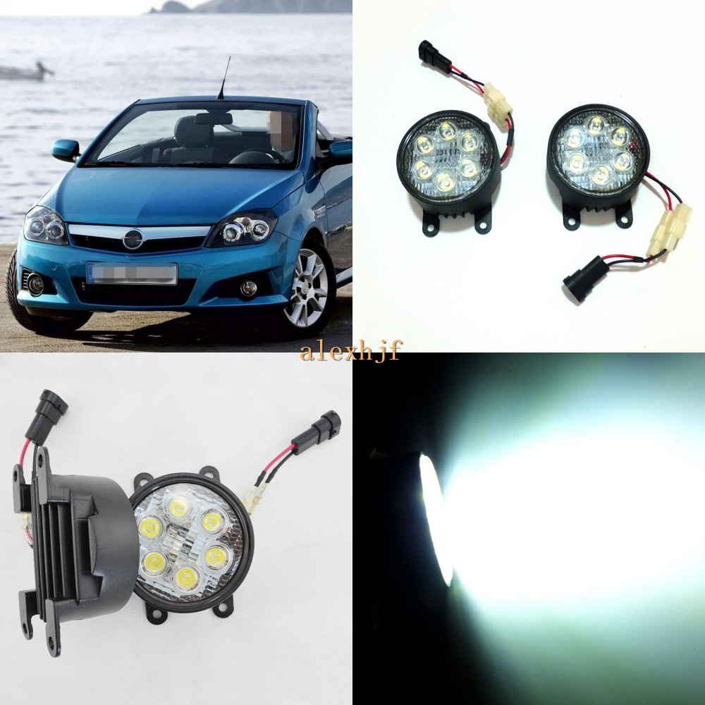 July King 18W 6LEDs H11 LED Fog Lamp Assembly Case for Opel Tigra 2004~ON, 6500K 1260LM LED Daytime Running Lights for opel astra h gtc 2005 15 h11 wiring harness sockets wire connector switch 2 fog lights drl front bumper 5d lens led lamp