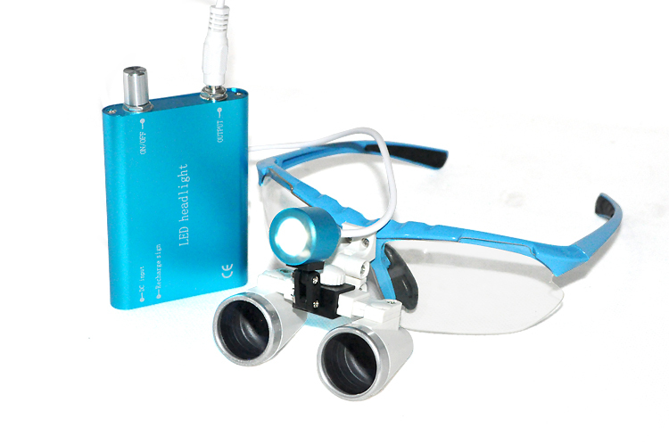 Free shipping popular new blue Dentist Dental Surgical 3.5X420mm Binocular Loupes Optical Glass + Portable LED Head Light Lamp