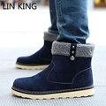 LIN REY Nuevo Hombres de la Llegada Botas Slip-on Flat Invierno Botas de Nieve Suela gruesa felpa Botines Para Hombre Cálido Zapatos Casuales Botas