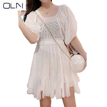 OLN dress Korean vestidos  summer new arrival wholesale French openwork stitching chiffon ruffled on sale