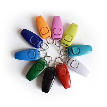 Hot Sale!Combo Dog Clicker & Whistle - Training,Pet Trainer Click Puppy With Guide,With Key Ring LBShipping