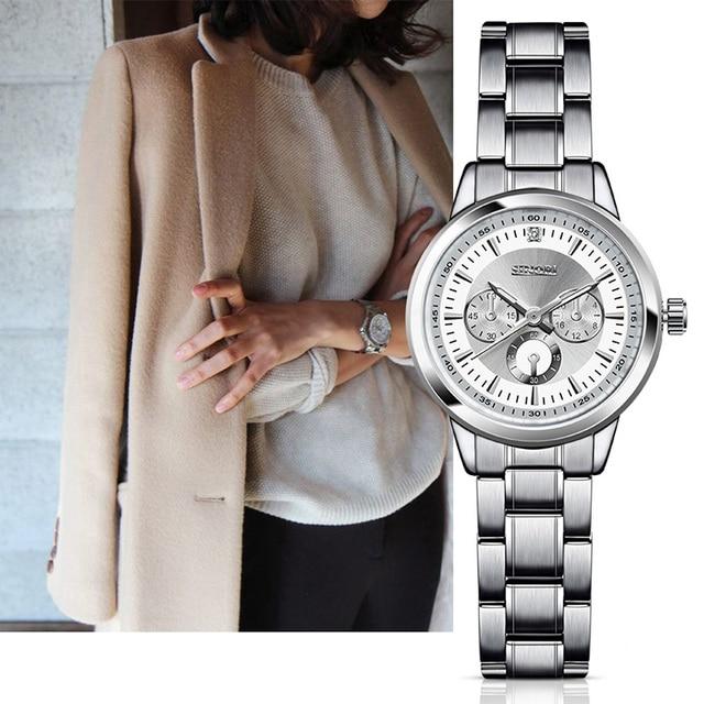 SINOBI Женские часы Нержавеющая сталь наручные Часы Модные женские браслет  Дата Женева Кварцевые часы Relojes Mujer 665e9684f9d