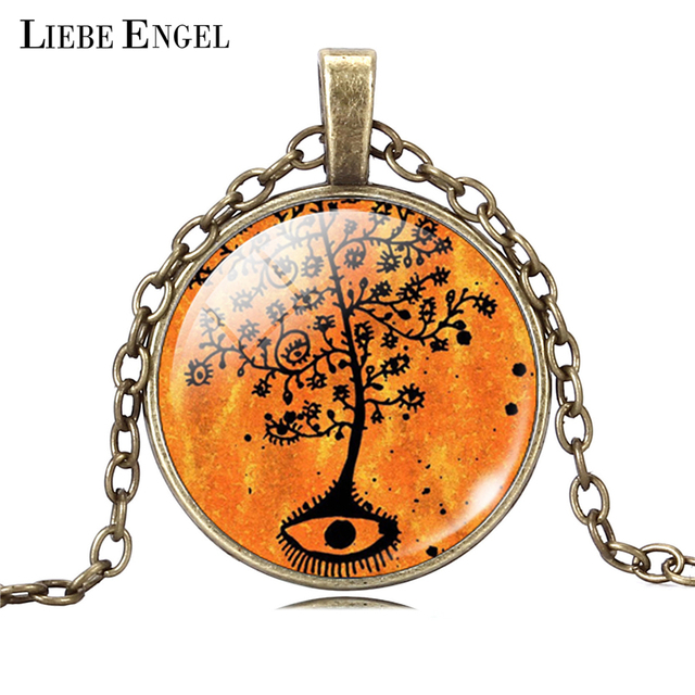 Life Tree Pendant Necklace Art Glass Cabochon 5