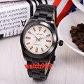 40 м Parnis PVD корпус черный циферблат сапфировое стекло  автоматические мужские часы ремешок из нержавеющей стали водонепроницаемые мужские м...