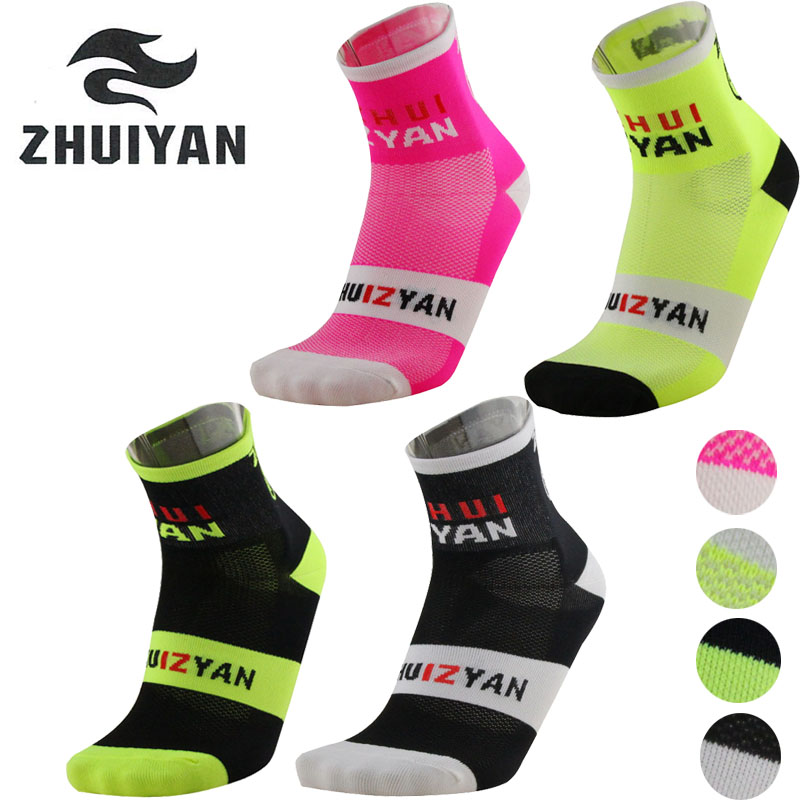 Zhuiyan outdoor sport socks 4 colors breathable cycling socks running bike basketball soccer socks calcetines ciclismo