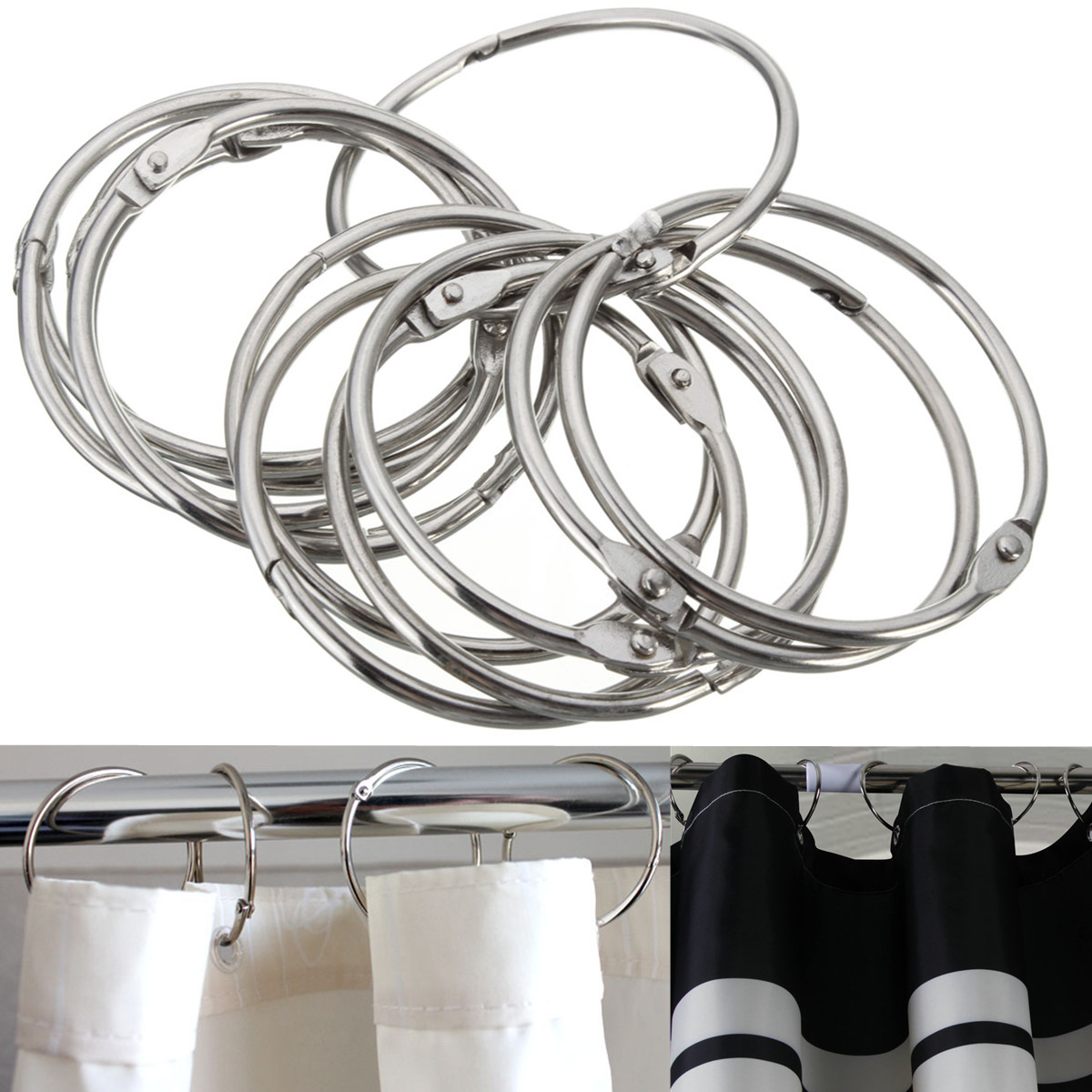5cm Round Circular Shower Curtain Hooks Rings Anti Rust Silver Hinges Closure Mechanism Stainless Steel Durable Slideable