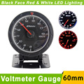 60mm 12V Black Face Universal Voltmeter Gauge 8-18V  DEF CR Advance Voltage Gauge  Red White LED