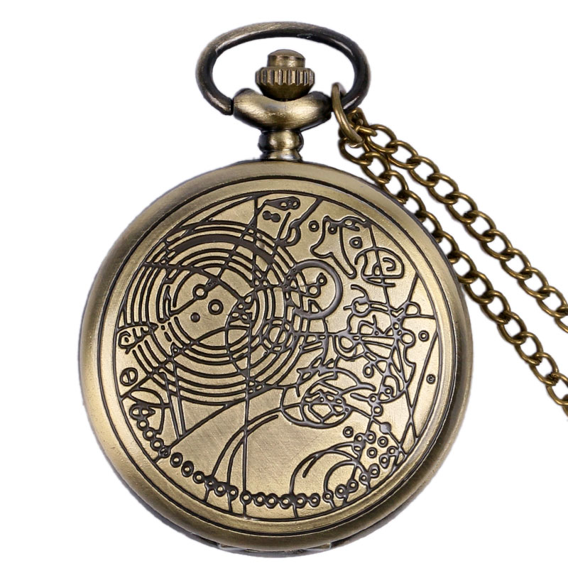 Antique Style Bronze Doctor Who Quartz Pocket Watch Men Women Fob Clock Pendant Gift With Necklace Chain antique gear roma numbers glass dome quartz pocket watch steampunk fob clock with necklace chain men women gift free shipping