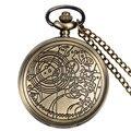 Estilo antigo Bronze Doctor Who Presente Das Mulheres Dos Homens de Quartzo Relógio de Bolso Fob Relógio Pingente Com Colar de Corrente