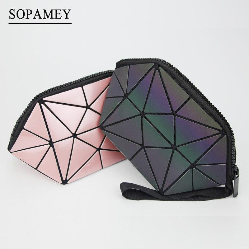 Leucht Geometrie Diamant Kosmetik Tasche Mode Frauen Kosmetik Tasche Organizer Damen Zipper Reise Make-Up Tasche Für Mädchen neceser