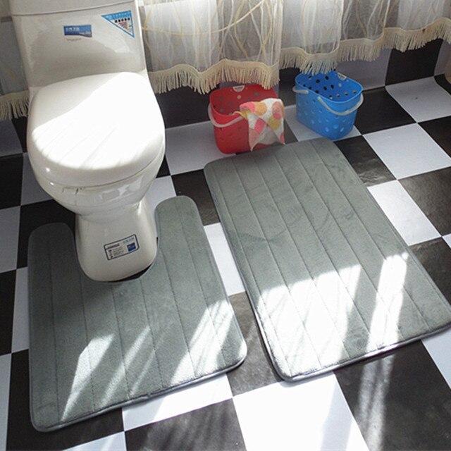 Fine Joy 2pcs Pure Color Slip Proof Carpet Mats Bathroom Toilet Mat Washable Bath Home