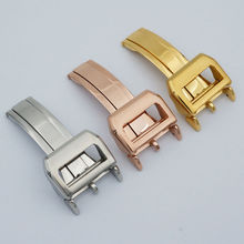 MAIKES High Quality Stainless Steel Folding Clasp 18mm Gold And Rose Gold Watch buckle For IWC Watch Band Strap  цена 2017