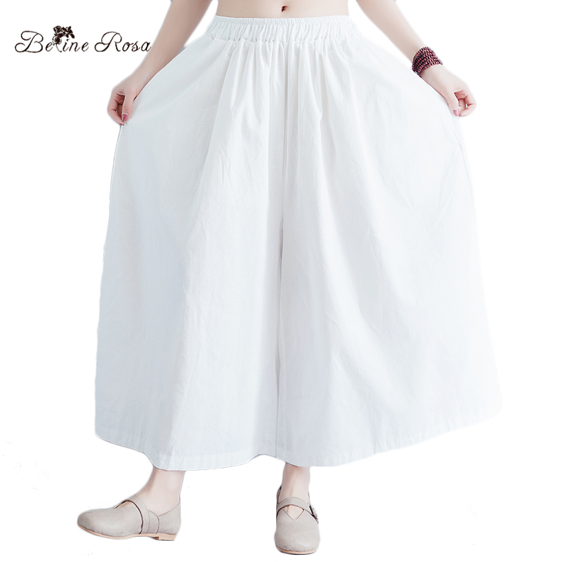 BelineRosa 2018 Women's White   Pants   Cotton Linen Plus Size Women Clothing Women's   Wide     Leg     Pants   HS000516