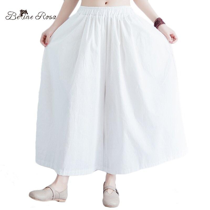 BelineRosa 2018 Women's White Pants Cotton Linen Plus Size Women Clothing Women's Wide Leg Pants HS000516