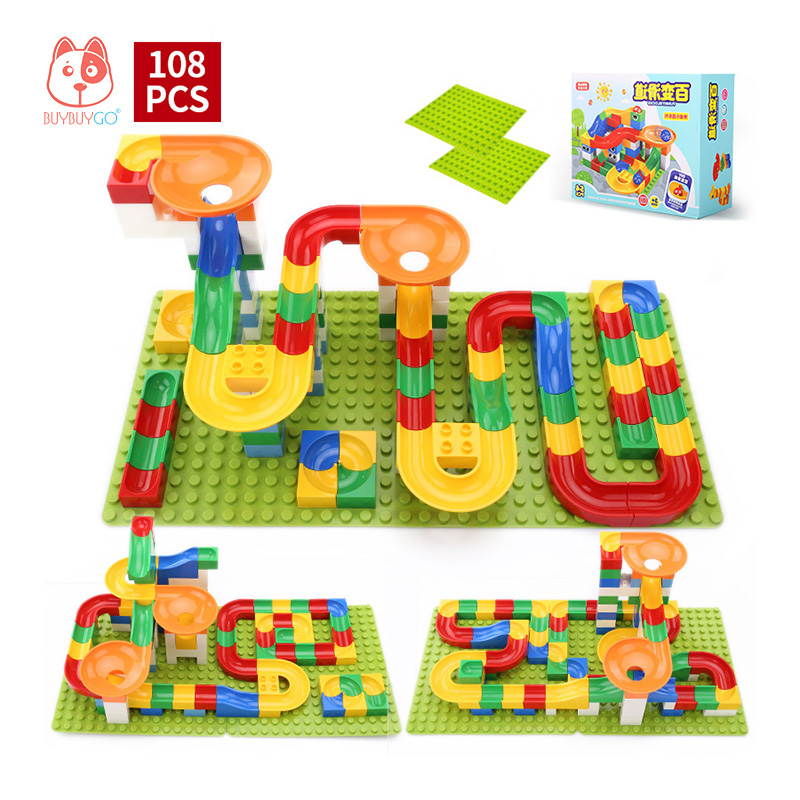 108 PCS Child Educational Block Toy Track Building Blocks DIY Construction Marble Race Run Maze Balls (Include Block Base Plate) candice guo plastic toy children block track ball building blocks 74pcs diy maze marble run construction system race deluxe gift