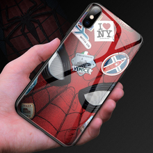 Marvel Spiderman Tempered Glass Phone Case For iPhone 11 Pro Max XSmax XR XS X 8 7 6s 6 Plus Luxury Protection Cover Coque Funda ciciber dragon ball phone case for iphone 11 pro max xr x xs max tempered glass cover cases for iphone 7 8 6 6s plus funda coque