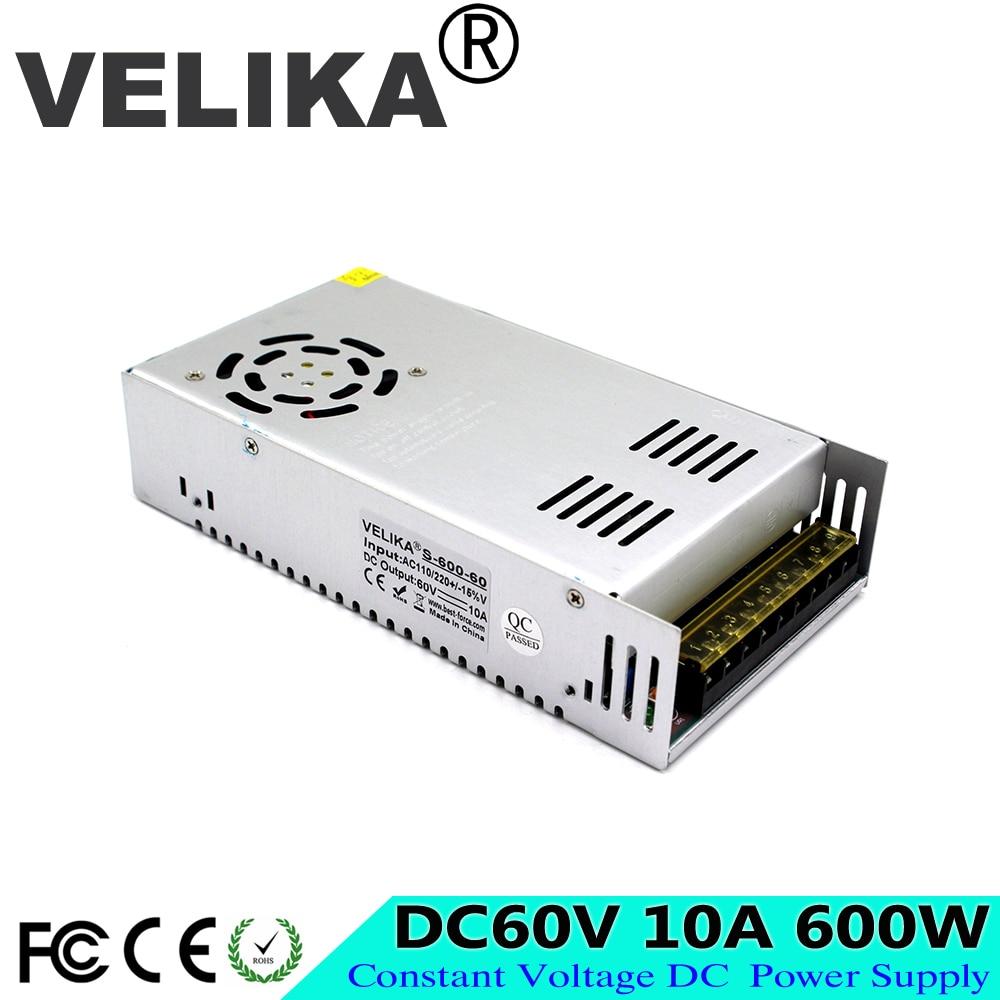 Universal Power Supply DC Regulated 60V 10A 600W Switching Power Adapter Transformer 110V 220V AC to DC60V For CNC CCTV Motor-in Switching Power Supply from Home Improvement    1
