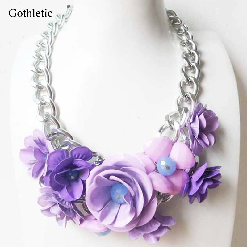 necklaces metal statement fashion necklace gdbk acrylic and flower set
