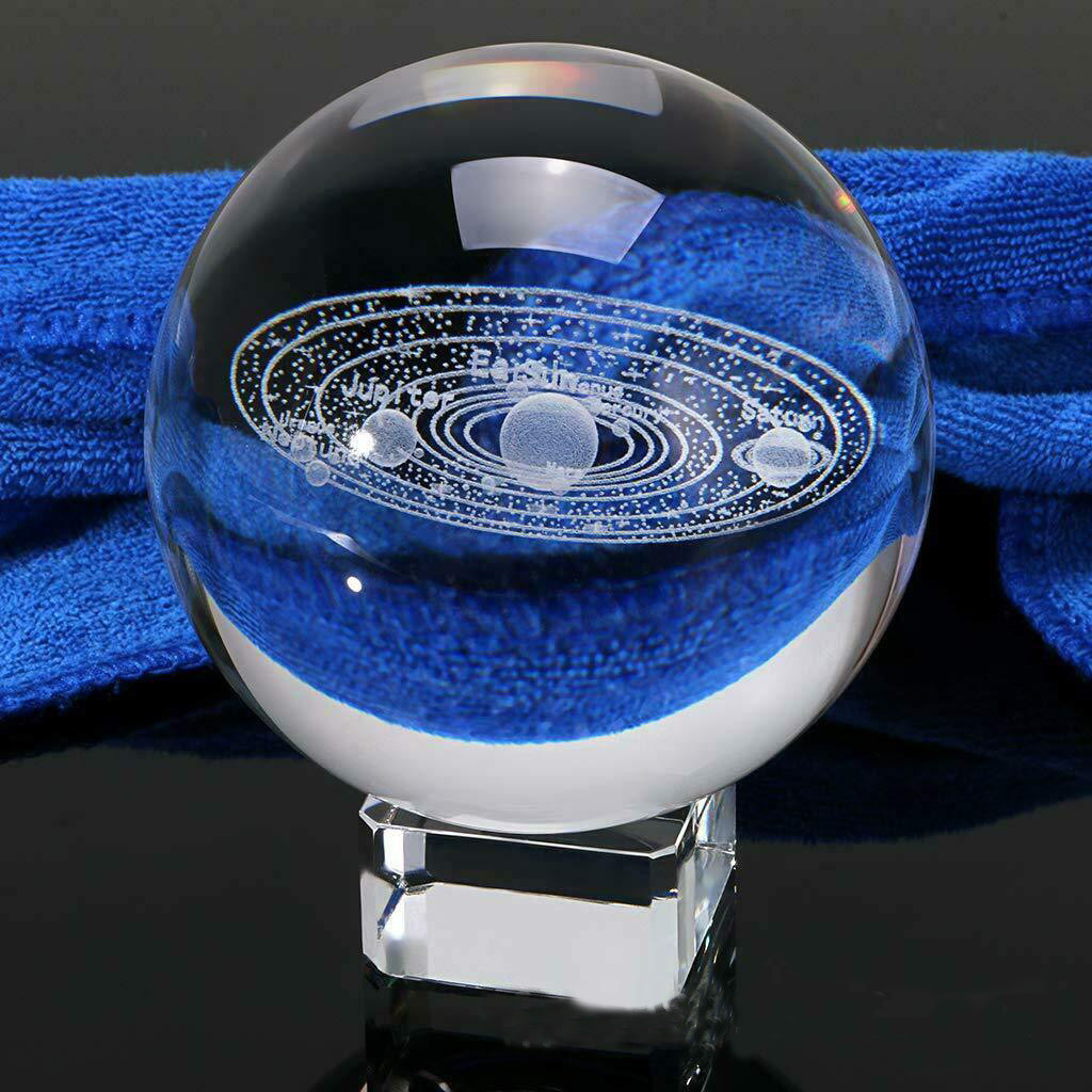 Crystal Ball 2019  3D Solar System Crystal Ball Engraved Solar System Miniature Planets Model