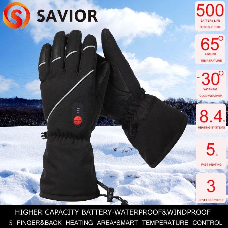 SAUVEUR S-15 hiver Chauffage Électrique Gants D'hiver Ski, pêche sports de plein air en cuir gants hommes femmes extra batterie avialible